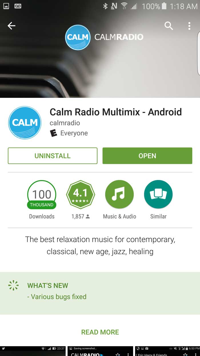 Download the Calm Radio app from the Google Play Store