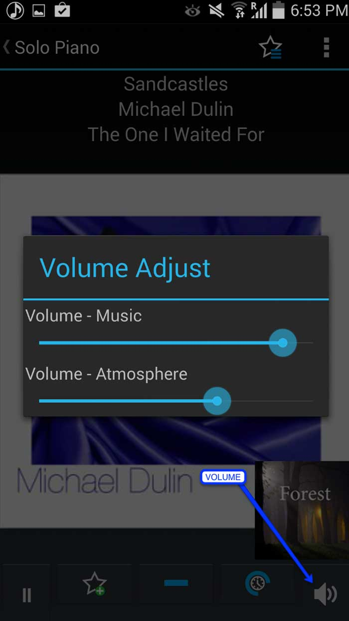 Adjust volume inside the Calm Radio app