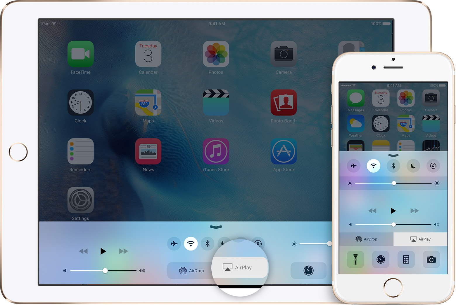 ios9 ipad iphone airplay callout