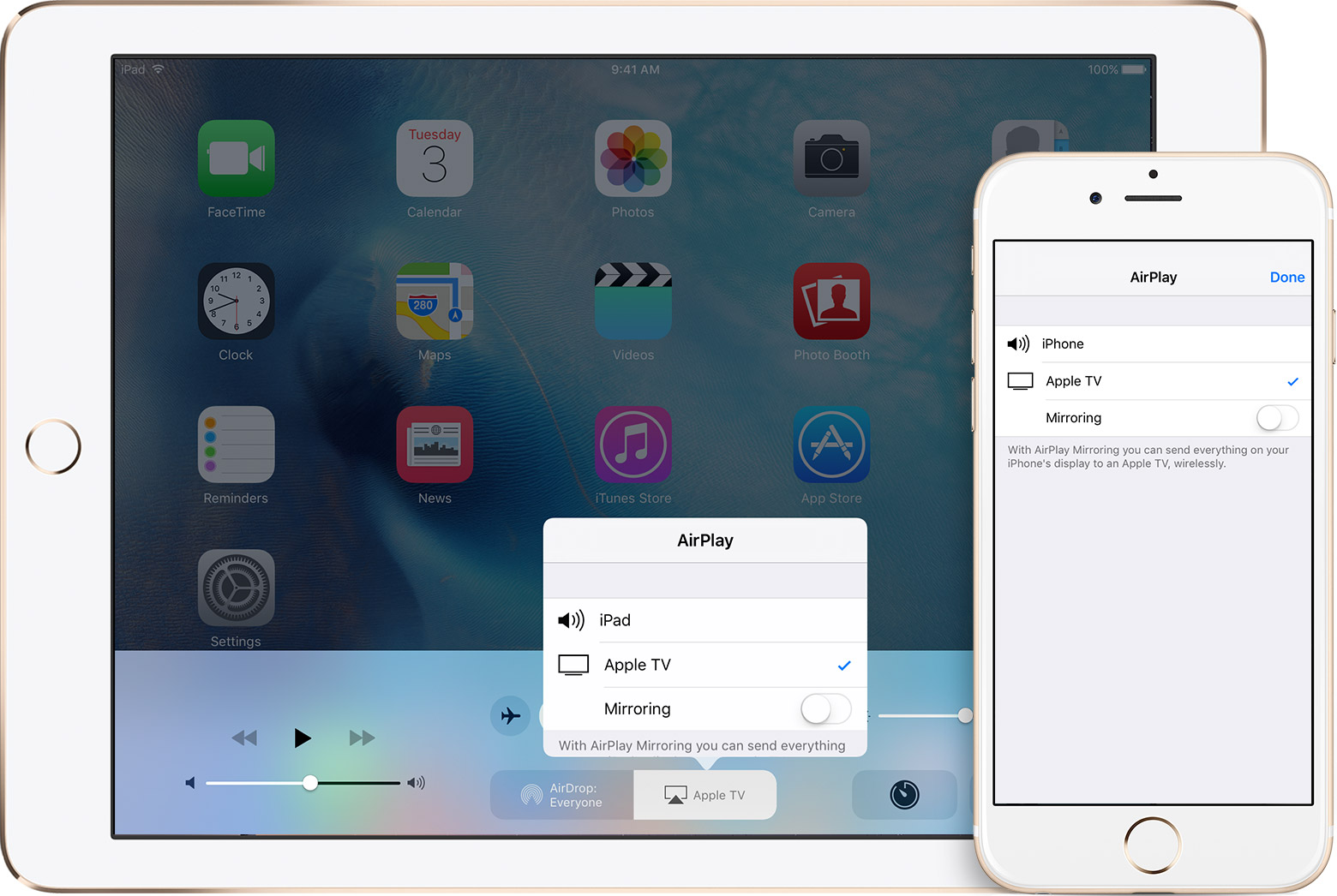 ios9 ipad iphone appletv mirror menu
