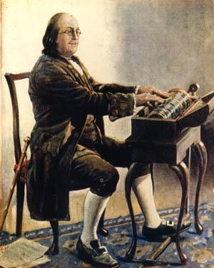 Benjamin Franklin & his glass armonica.